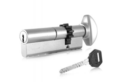 Schließzylinder zweiseitig, mit Sicherheitsmechanismus L 52, Zahnrad und Griff