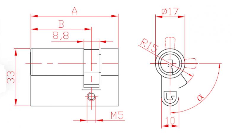 Halbschloss einseitig, mit Sicherheitsmechanismus L 29